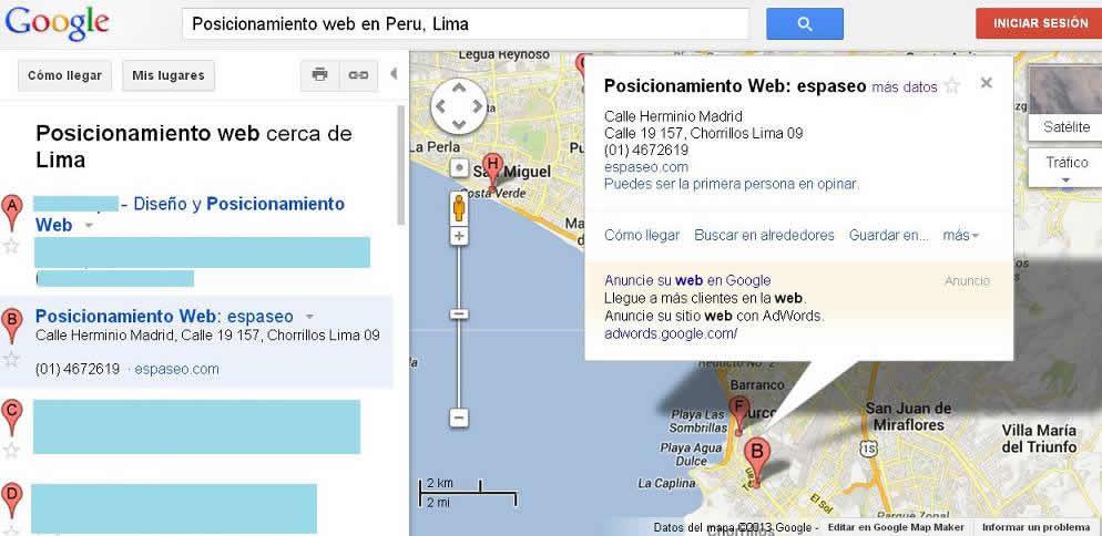 posiconamiento seo google maps