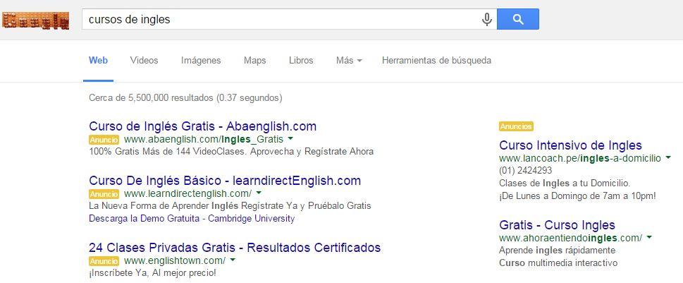 ejemplo de campaña de busqueda google adwords